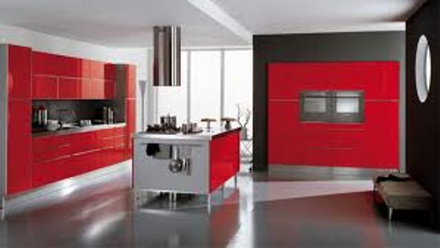 Black and Red Kitchen Ideas with Silver Accent