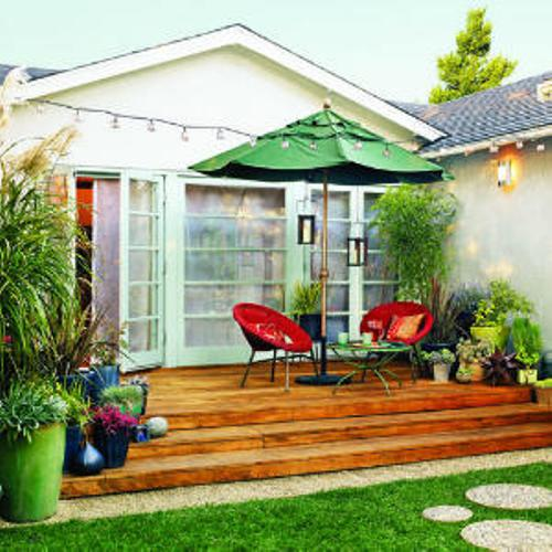 outdoor patio tile ideas with chairs