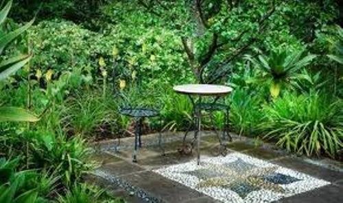 patio stone types in lush garden