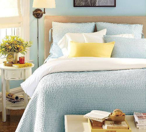 Aqua Grey and Yellow Bedroom with Balance Design