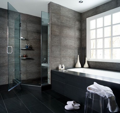 Bathroom with Black Floor Tiles