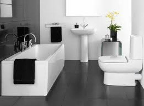 Bathroom with Black Floor Tiles With White