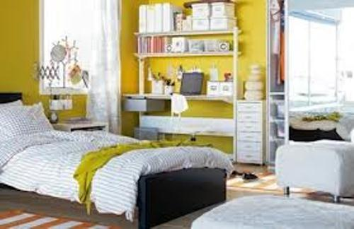 Gray and Yellow Bedroom Ideas with White